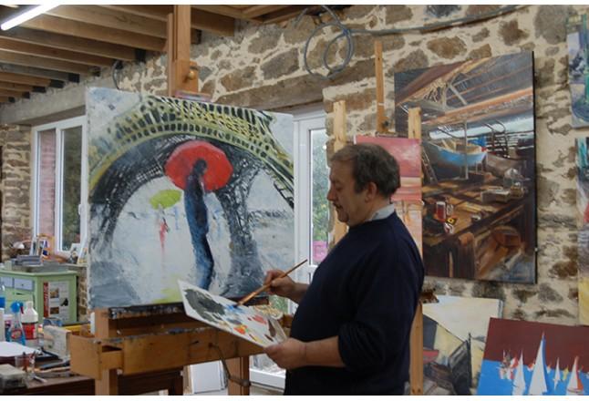 Le peintre Abraham dans son atelier